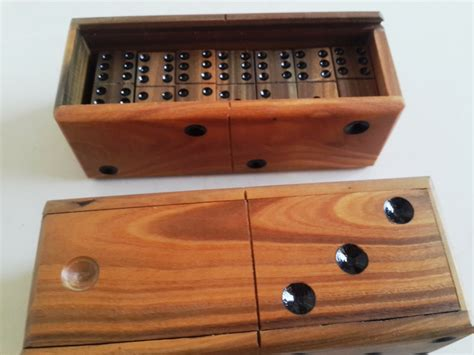 Handmade Dominos - domino set wooden vintage top box dominoes