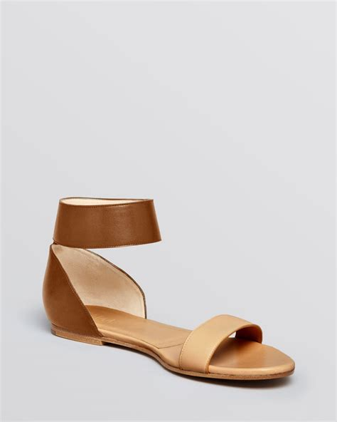 brown ankle sandals chlo 233 flat sandals taffy ankle in brown soft