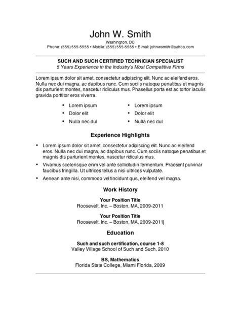 free copy of a resume sle