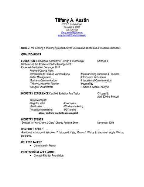 Resume Templates For Visual Merchandiser meaning of employment objective or cover letter cover