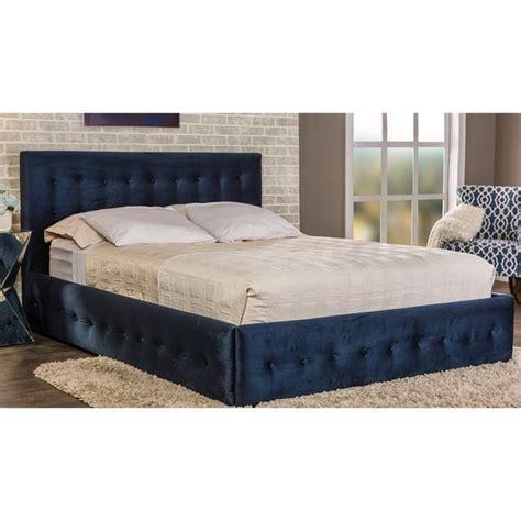 blue upholstered bed morgan velvet upholstered queen platform bed in blue