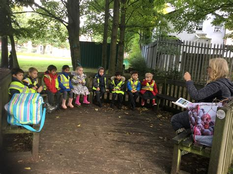 bolton school nursery children enjoy woodland nature area