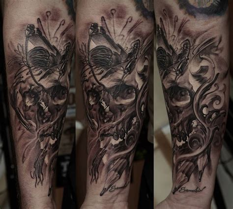 full sleeve skull tattoo designs skull sleeve by dmitriy samohin design of