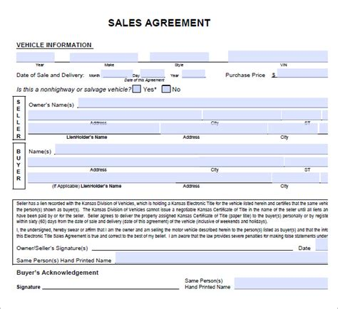 car sale agreement template sales agreement 6 free pdf doc