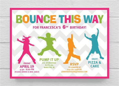 printable jump birthday invitations printable bounce birthday party invitation parties