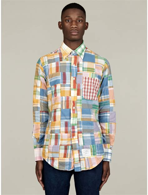Patchwork Madras Shirt - thom browne mens classic buttondown patchwork madras shirt