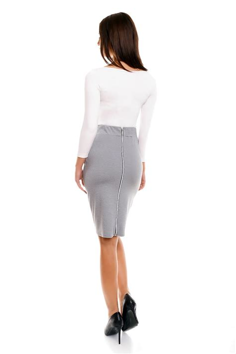 grey pencil skirt with back zipper fastening