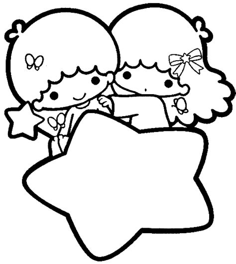 little twin stars coloring pages sketch coloring page