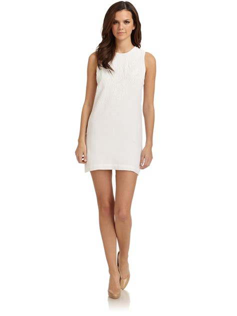 connection harmony beaded shift dress in white lyst