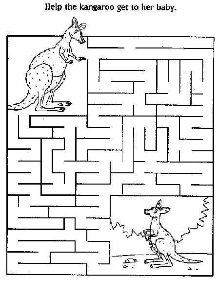 preschool printable maze worksheets kangaroo maze lots of mazes kids crafts homeschool