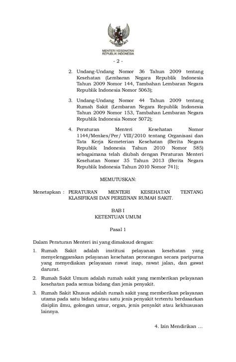 Undang Undang Kesehatan Dan Rumah Sakit Tahun 2009 permenkes 56 tahun 2014 tentang klasifikasi dan perizinan