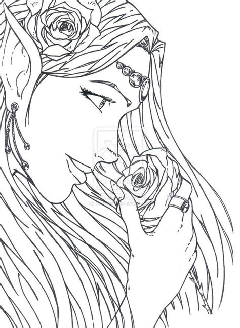 Elf Coloring Pages For Adults | elf warrior coloring page the goddess of elves by kenoan