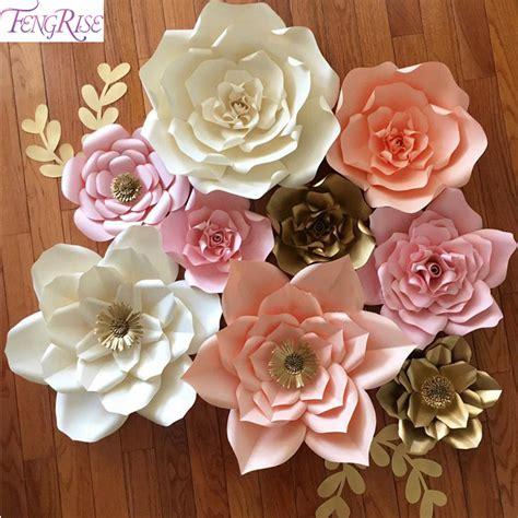 Wedding Backdrop With Paper Flowers by Fengrise 2pcs 20cm Diy Paper Flowers Backdrop Blue
