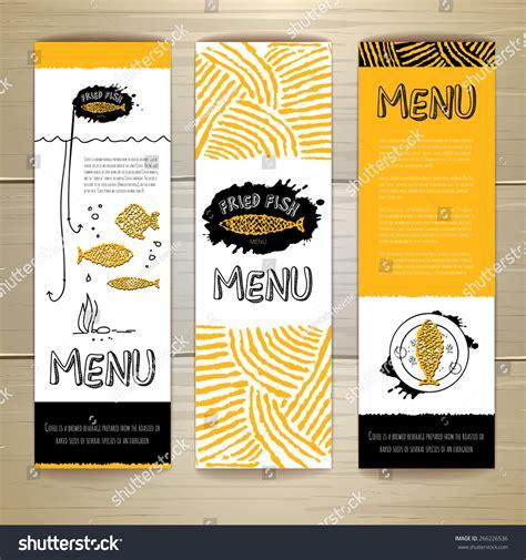 design banner menu fried fish restaurant menu concept design stock vector