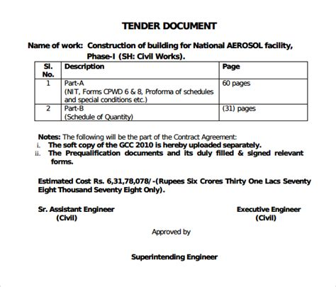 tender document template for construction sle tender document 7 documents in pdf