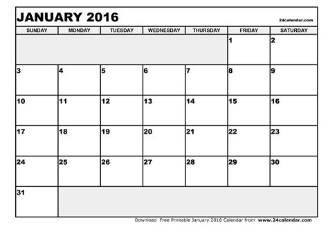 printable january 2016 weekly planner blank january 2016 calendar in printable format chainimage