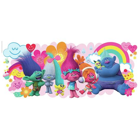 Removable Wall Stickers For Baby Room find your happy place with trolls movie giant wall graphic