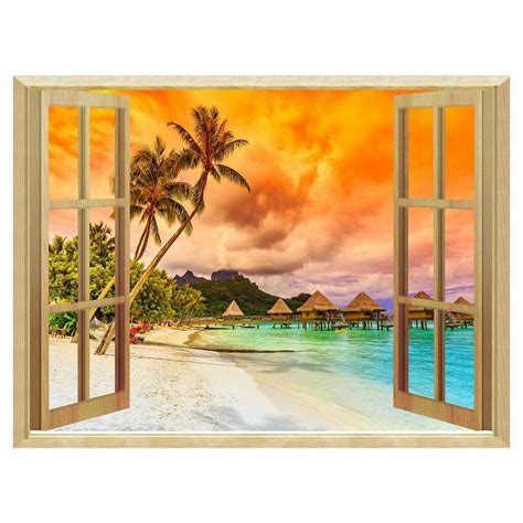 removable wall murals 3d windows sunset removable wall sticker wallpaper murals