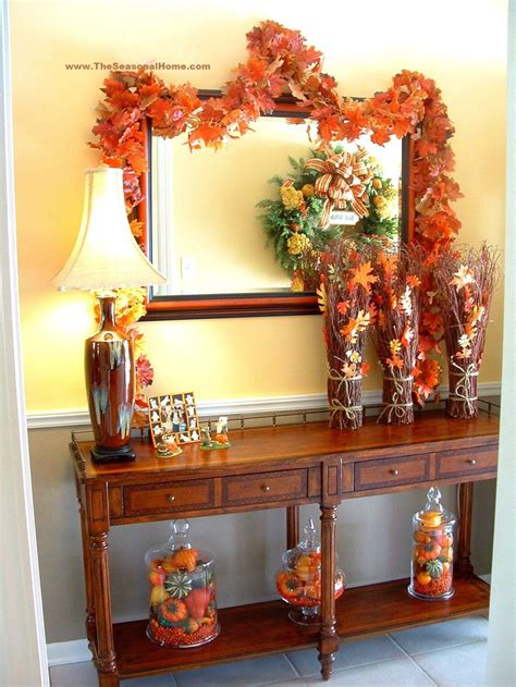 autumn foyer decorating ideas fall vignette from the seasonal home blog fall