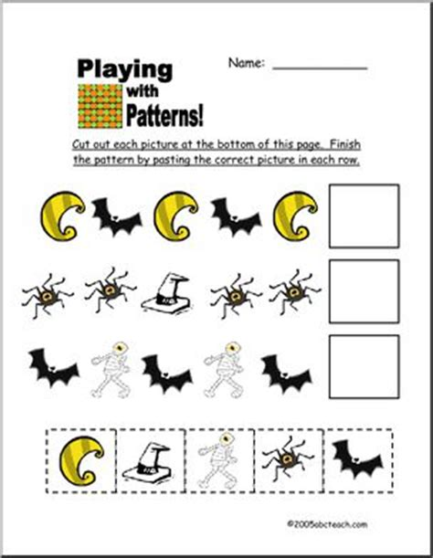 halloween pattern worksheets for kindergarten worksheet halloween patterns pre k primary abcteach