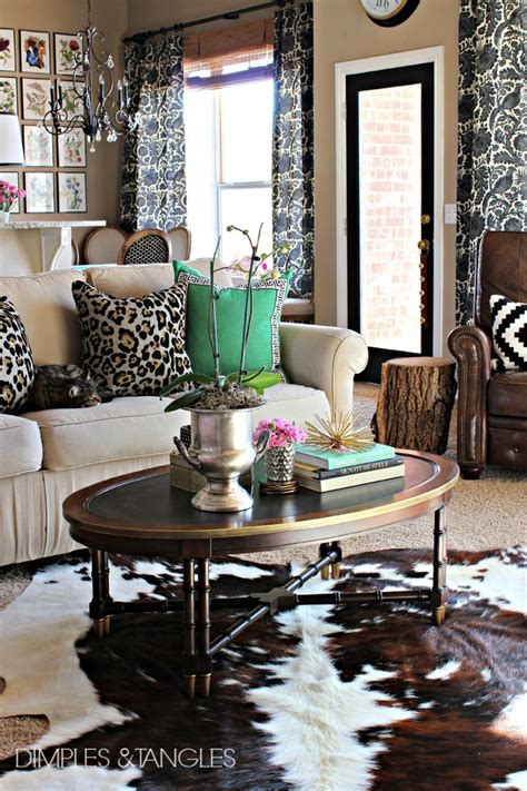 Cow Rug Living Room Cowhide Decorating Ideas Iron