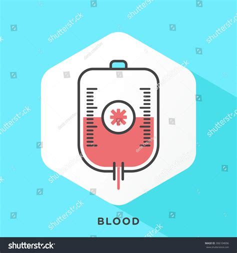 Outline Offset Color by Blood Bag Icon With Grey Outline And Offset Flat Colors Modern Style Minimalistic Vector