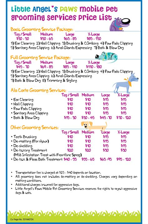 puppy price list grooming price list template grooming price list template 17 grooming flyers