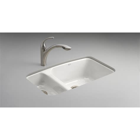 Enameled Cast Iron Kitchen Sinks Shop Kohler Lakefield Basin Undermount Enameled Cast Iron Kitchen Sink At Lowes