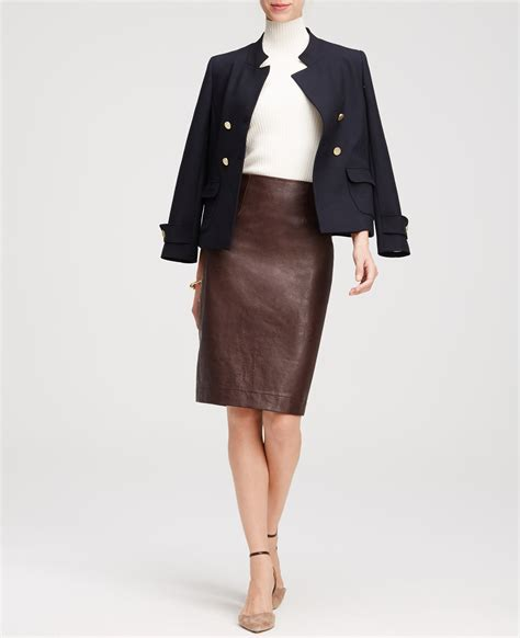faux leather pencil skirt in lyst
