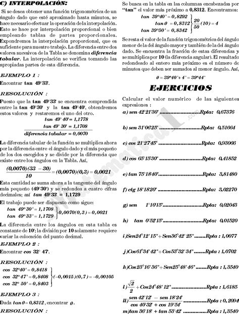 tablas trigonometricas e interpolacion ejercicios tablas trigonometricas e interpolacion ejercicios