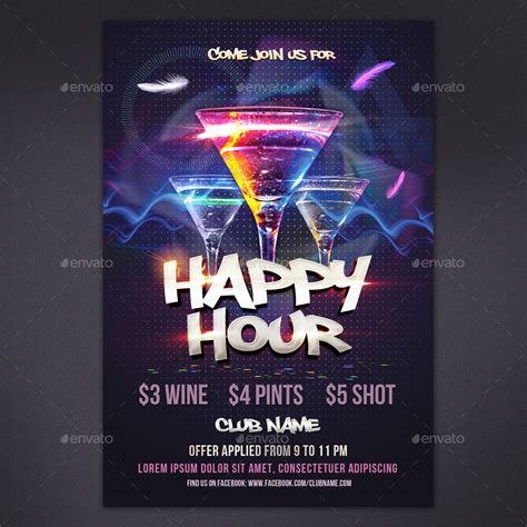 Happy Hour Flyer By Rembassio Graphicriver Happy Hour Flyer Template Free