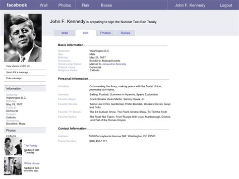 biography examples for college students facebook sample page jfk