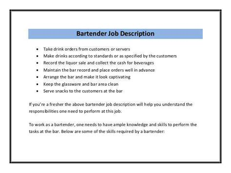 bartender resume responsibilities how to write the best bartender description and get