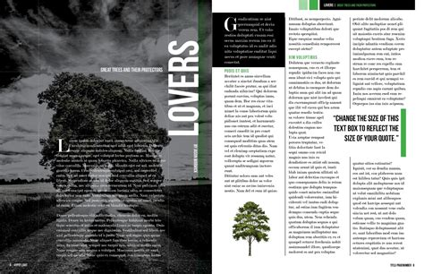 design magazine spread dark trees magazine layout free indesign template