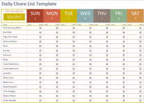 Weekly Chore List Template Daily Chore List Template Microsoft Office Templates