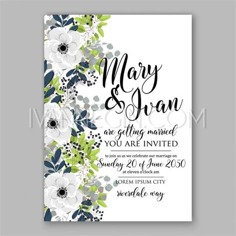 anemone wedding invitations anemone bridal shower invitation cards in light gray and