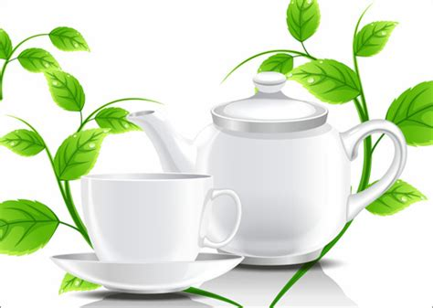 wallpaper daun teh teacup teapot and green leaves background vector free