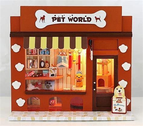 dollhouse store dollhouse miniature diy kit with light pet world store