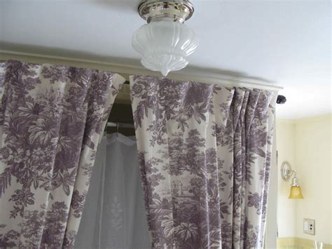 Ceiling Curtain Rods Ideas Ceiling Beige Curtains With White Ceiling Mounted Curtain