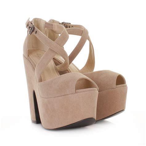 Sendal Wedges Stileto High Heels Wanita Bahan Suede Best Seller womens beige suede style cut out platform high heel wedges shoes size 3 8 ebay