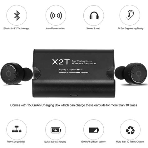 True Wireless Bluetooth Earphone With Charging Dock x2t true wireless bluetooth in ear headset earphone earbuds w charger dock ebay