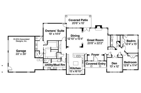 Ranch Style Homes With Open Floor Plans Ranch House Plans Parkdale 30 684 Associated Designs