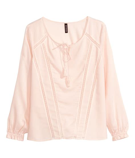 Blouse Pink h m blouse with lace in pink powder pink lyst