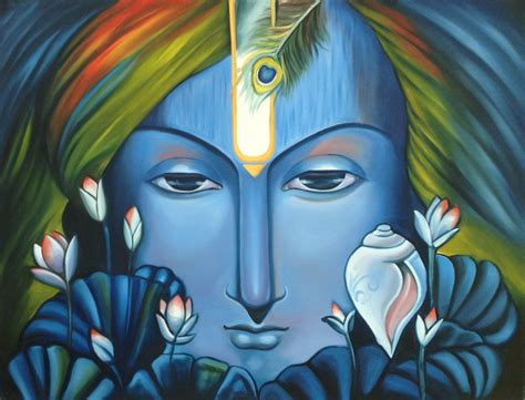 Handmade Portraits - krishna handmade indian hindu deity portrait on