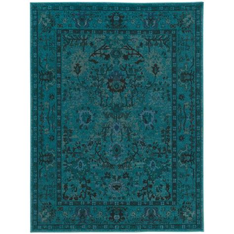 teal rugs home decorators collection overdye teal 4 ft x 6 ft area rug 454174 the home depot