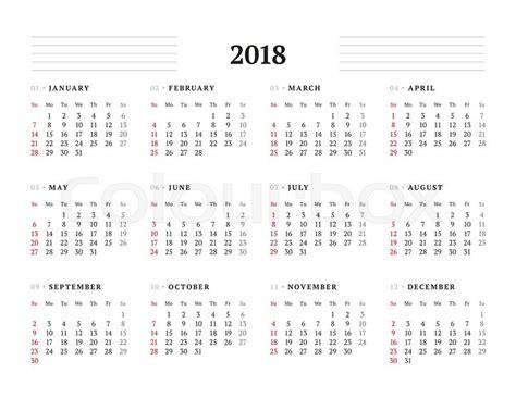 Calendar 2018 Printable Monday Start Simple Calendar Template For 2018 Year Stationery Design