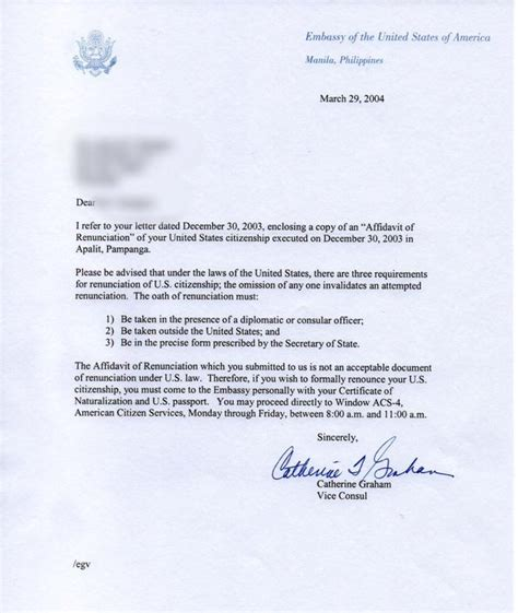 Us Embassy Manila Letterhead authorization letter to process documents tolg