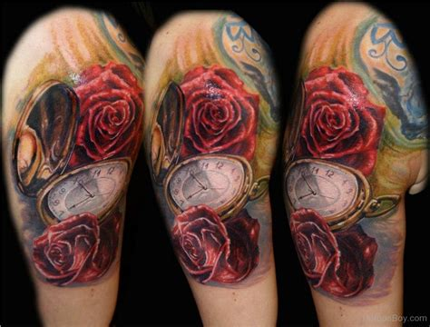 clock rose tattoo clock tattoos designs pictures page 2