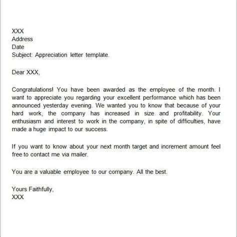 thank you letter to employees for excellent performance sle thank you letter recognition award cover letter