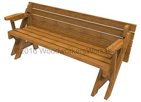 convertible picnic table bench plans woodworkersworkshop woodworking plan to build a